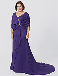cheap -Sheath / Column V-neck Sweep / Brush Train Chiffon Plus Size Mother of the Bride Dress by LAN TING BRIDE®