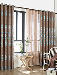 cheap -Grommet Top Double Pleat Pencil Pleat Curtain Contemporary Casual , Printed Floral Color Block Bedroom Polyester Material Blackout