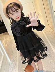Girl's Solid Dress,Cotton Rayon Polyester Long Sleeves Cute Casual Active Princess Black