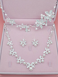 cheap -Women's Synthetic Diamond / Imitation Pearl Leaf Jewelry Set - Crown Silver Headwear / Necklace For Wedding / Party / Birthday
