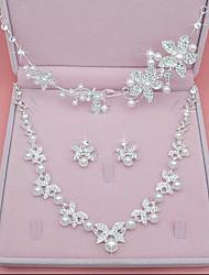 baratos -Mulheres Diamante sintético / Imitação de Pérola Formato de Folha Conjunto de jóias - Formato Coroa Prata Decoração de Cabelo / Colar Para
