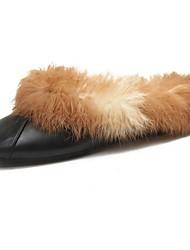 Dámské Boty PU Zima Módní obuv Bačkory a dřeváky Kulatý palec Kotníčkové Pro Ležérní Černá Hnědá Červená