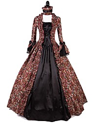 cheap -One-Piece/Dress Party Costume Masquerade Steampunk® Elegant Lace-up Victorian Cosplay Lolita Dress Red Floral Vintage Long Sleeves Dress