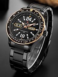 Недорогие -Муж. Наручные часы Нержавеющая сталь Группа Аналоговый Черный / Серебристый металл / Золотистый - Оранжевый Красный Синий