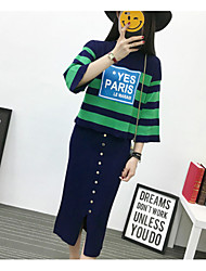 Women's Daily Wear Going out Short Set,Solid Striped Round Neck Long Sleeves Cotton Spring/Fall Medium strenchy