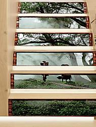abordables -Paisaje Animales Pegatinas de pared Calcomanías 3D para Pared Pegatinas de pared de personas Calcomanías Decorativas de Pared, Vinilo