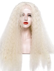 abordables -Perruque Lace Front Synthétique Afro Kinky Blond Femme Dentelle frontale Perruque de fête Perruque Naturelle Perruque de Cosplay Long