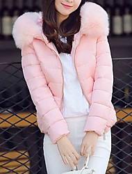 abordables -Femme Sortie Actif Couleur Pleine Court Doudoune, Coton / Acrylique / Autres Manches Longues Bleu / Noir / Rose Claire L / XL / XXL