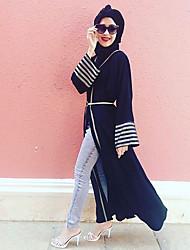Недорогие -Жен. Уличный стиль Вспышка рукава Абайя Платье - Однотонный Контрастных цветов, В полоску Завышенная Макси