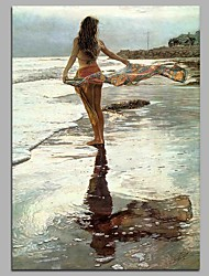 cheap -Leisurely Beach Wall Decor Hand Painted Contemporary Oil Paintings Modern Artwork Wall Art