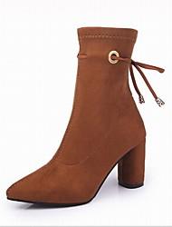 Недорогие -Жен. Обувь Бархатистая отделка Зима Модная обувь Ботинки На толстом каблуке Заостренный носок Ботинки Бант для Для праздника Офис и
