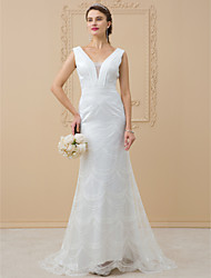 cheap -Sheath / Column V-neck Sweep / Brush Train Chiffon Lace Wedding Dress with Appliques Lace Sashes/ Ribbons by LAN TING BRIDE®
