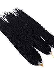 "Hæklede hårfletninger 3 Dele Hårkrøller Boks Fletninger 24 "" Ombre hårfletter Afrikanske fletninger Syntetisk Hår Sort Rødblondt Sort /"