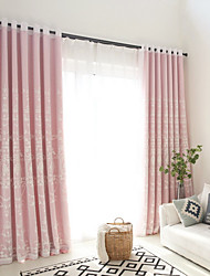 Grommet Top Double Pleat Pencil Pleat Curtain Modern Floral Geometric Hollow Living Room Linen Material Curtains Drapes Home Decoration