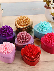 cheap -Heart-shaped Metalic Silk Favor Holder With Ribbons Floral Print Favor Boxes-12 pcs