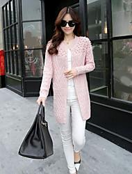 Women's Daily Wear Long Cardigan,Solid V Neck Long Sleeves Acrylic Autumn Medium Stretchy