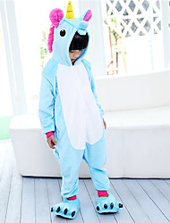 cheap -Kigurumi Pajamas Flying Horse Unicorn Onesie Pajamas Costume Flannel Fabric Pink Blue Purple Cosplay For Kid Animal Sleepwear Cartoon