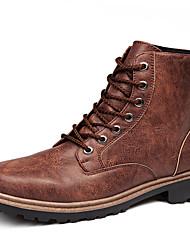 baratos -Masculino sapatos Couro Ecológico Outono Inverno Conforto Botas de Neve Botas Botas Curtas / Ankle Ziper Para Casual Preto Marron