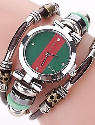 Women's Casual Watch Fashion Watch Bracelet Watch Simulated Diamond Watch Chinese Quartz Imitation Diamond Genuine Leather Band Casual
