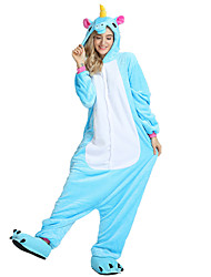 cheap -Adults' Kigurumi Pajamas Unicorn / Flying Horse Onesie Pajamas Costume Velvet Mink Rose / Blue / Pink Cosplay For Animal Sleepwear Cartoon Halloween Festival / Holiday / Christmas