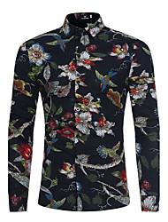 Недорогие -Муж. Рубашка Хлопок Тонкие Цветочный принт Черный / Длинный рукав