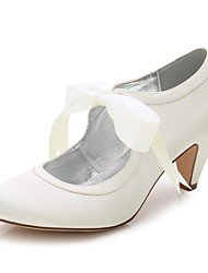 cheap -Women's Shoes Silk Spring / Summer Comfort Wedding Shoes Round Toe for Wedding / Party & Evening / Dress White / Ivory