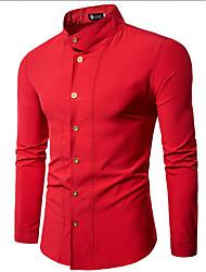 メンズ お出かけ カジュアル/普段着 シャツ,ストリートファッション スタンド ソリッド ポリエステル 長袖