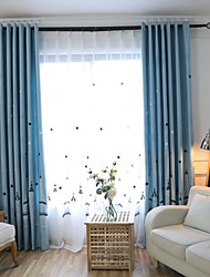 Grommet Top Double Pleat Pencil Pleat Curtain Country Modern , Printed Geometric Living Room Linen Material Blackout Curtains Drapes Home