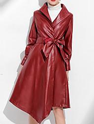 preiswerte -Damen Solide Einfach Lässig/Alltäglich Mantel,V-Ausschnitt Winter Langärmelige Lang PU überdimensional