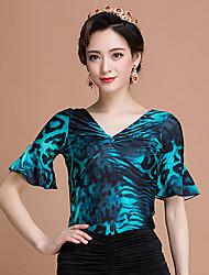 cheap -Ballroom Dance Tops Women's Performance Ice Silk Pattern/Print Short Sleeve Tops