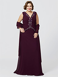 cheap -Sheath / Column V Neck Floor Length Chiffon Georgette Mother of the Bride Dress with Beading Ruched by LAN TING BRIDE®