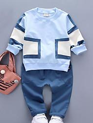 cheap -Boys' Patchwork Clothing Set,Rayon Spring Fall Long Sleeves Street chic Orange Gray Light Blue