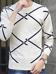 Herrer I-byen-tøj Afslappet/Hverdag Lang Pullover Trykt mønster,Rund hals Langærmet Polyester Forår Efterår Tyk Mikroelastisk