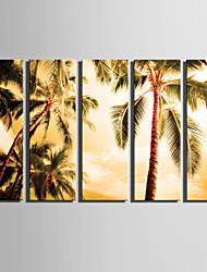Недорогие -Пейзаж Классика, 5 панелей холст Вертикальная С картинкой Декор стены Украшение дома