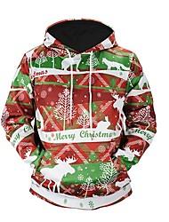 baratos -Papai Noel Boneco de Neve Moletom Homens Mulheres Natal Festival / Celebração Trajes da Noite das Bruxas Vermelho Listrado
