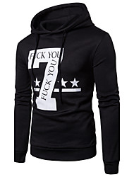 cheap -Men's Active Long Sleeves Hoodie - Letter, Print Hooded
