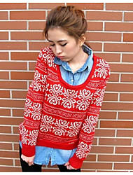 economico -Standard Pullover Da donna-Lavoro usura Da tutti i giorni Tinta unita Rotonda Manica lunga Cotone Poliestere Inverno Medio spessore