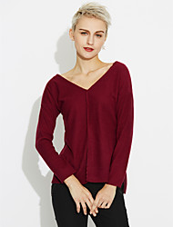 cheap -Women's Long Sleeves Cotton Long Cardigan - Solid Colored V Neck