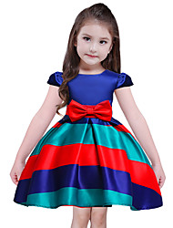 Girl's Holiday Going out Striped Dress,Polyester Short Sleeves Cute Princess Blue