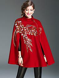 Feminino Casaco Para Noite Casual Simples Moda de Rua Sofisticado Outono Inverno,Lantejoula Curto Lã Acrílico Poliéster Colarinho Chinês