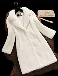 cheap -Women's Simple Fur Coat - Solid Colored