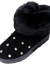 cheap -Women's Shoes PU Winter Snow Boots Fur Lining Comfort Boots Round Toe Booties/Ankle Boots for Casual Outdoor Black Gray Green