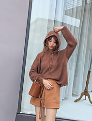 Women's Casual/Daily Simple Regular Pullover,Solid Hooded Long Sleeves Cotton Fall Medium Micro-elastic