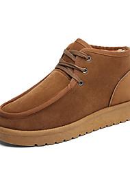 abordables -Hombre Zapatos Ante Otoño Invierno Botas de nieve Forro de pelusa Botas Con Cordón Para Deportivo Casual Negro Gris Caqui