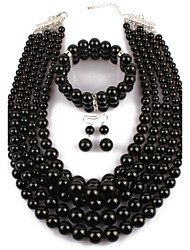 cheap -Women's Imitation Pearl Jewelry Set Earrings / Necklace / Bracelets - Statement Circle Black For Casual / Evening Party