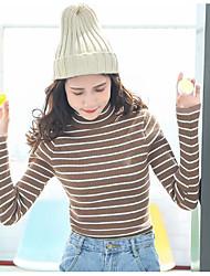 Standard Pullover Da donna-Casual Semplice A strisce Dolcevita Manica lunga Cotone Primavera/Autunno Medio spessore Media elasticità