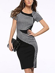 cheap -Women's Going out Loose Knee-length Dress, Color Block Check Round Neck Short Sleeves