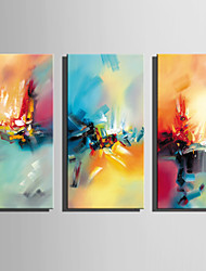 cheap -Oil Painting Hand Painted - Abstract Rustic Modern Canvas Three Panels