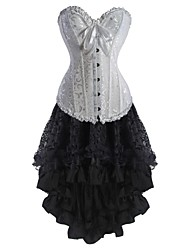 economico -Per donna Laccetti Vestiti con corsetto, Medio spessore Fantasia floreale Bianco