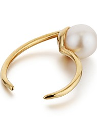 abordables -Femme Perle imitée Cuivre / Plaqué or Balle Cuff Anneau - simple / Décontracté / Mode Or / Noir Bague Pour Quotidien / Travail